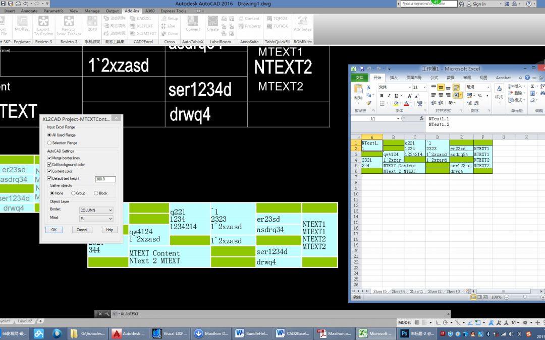 Các ứng dụng dành cho phần mềm AutoCAD và Excel